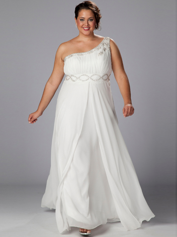 One Shoulder Plus Size Wedding Dress Wedding Dzine