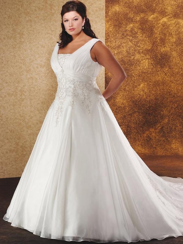 Plus size ball gown wedding dress with embroidery - Wedding Dzine